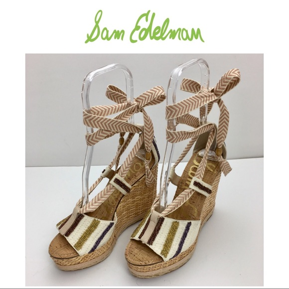 be9c881b9be59c Sam Edelman TREY Ivory Lace up Ankle Wedge. M 5aa41ab4d39ca2031d4ca9a4